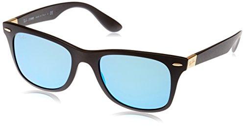 Ray-Ban RAYBAN Herren Sonnenbrille 4195, Matte Black/Blueflash, 52