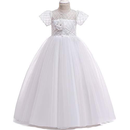 YGCLOTHES Mädchen-Kurzarmkleider, Blumen-Festzug-Abschlussball-Mädchen-Kleider, Abend-Formale Partei-Erstkommunions-Kleider, Für Passende Mädchen-Ballettröckchen-Klavier-Kostüme,Weiß,160cm (Kinder Klavier Kostüm)