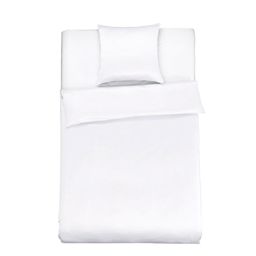 LilySilk Seide Bettwäsche-Set 2 teilig Bettbezug 135x200cm Kissenbezug 80x80cm Seide Unifarben 19 Momme-Weiß Verpackung MEHRWEG (Seide Bettwäsche-sets)