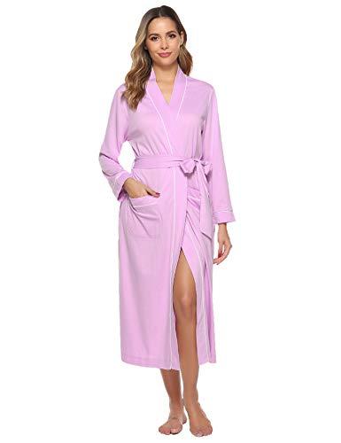 Sykooria Bata para Mujer Algodón, Largo Albornoz Kimono Ropa de Dormir Suave Loungewear Bata de Bolsillo...