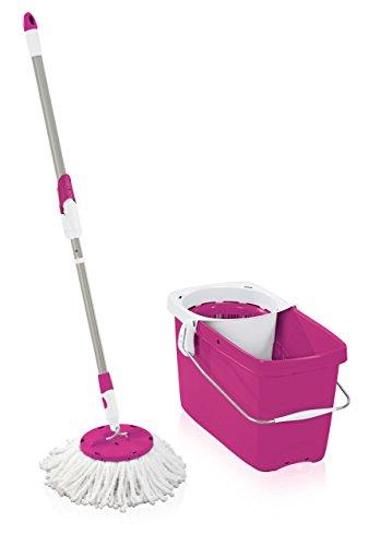 Leifheit 52075 Set Clean Twist Disc Mop Crazy Pink Set Bodenwischer, Metall, 48 x 27 x cm