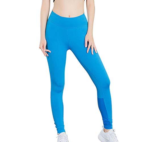 VRTUR Laufhose Damen mit Tasche lang Leggins Stretch-Hose Lauf-Tights für Smartphone Handy Schlüssel Yoga Reflektierender Streifen Nacht Laufen Yogahosen (Medium,Blau)