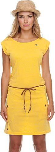 Ragwear Tag Damen,Kleid,Sommerkleid,ärmellos,vegan,Rundhalsausschnitt,Taillengürtel,Taschen,Yellow,M