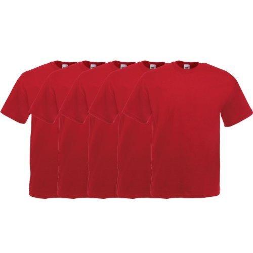 Fruit of the Loom Original  T Rundhals T-Shirt F140 5er Pack- Gr. M, Brick Red