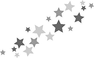18 Stück selbstklebende Sterne Autoaufkleber, Türaufkleber, Fahrradaufkleber, Wandtattoo tricolore-grau, anthrazit, Fensterdekoration Fensterbild / Fensteraufkleber für In- und Outdoor 62s1 von timalo - TapetenShop