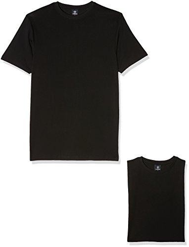 LERROS Herren Rundhals T-Shirt Doppelpack Schwarz (Black 200)