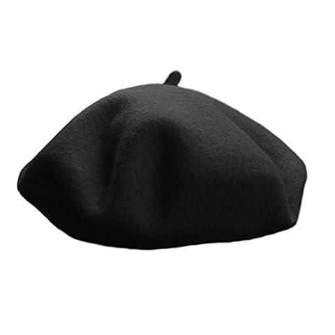 Beret Femme Noir - Nanxson(TM) bonnet chapeau coiffure béret romantique en