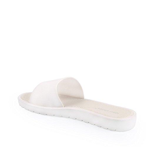 Ideal Shoes - Nu-pieds classiques Norita Blanc