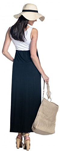 Zeta Ville - Maternité robe maxi plissé empire taille encolure dégagée - 292c Blanc & Noir