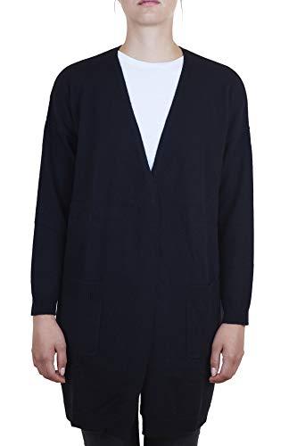 Cash-mere.ch cardigan lungo | golfino da donna 100% cachemire (nero, l)