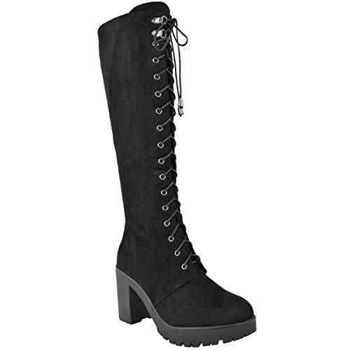 Fashion Thirsty Damen Stiefel mit Blockabsatz - kniehoch -
