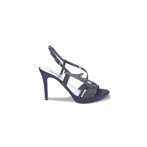 Melluso J420 Sandalo Donna Elegante in Raso con Veri Swarovski Nero Raso