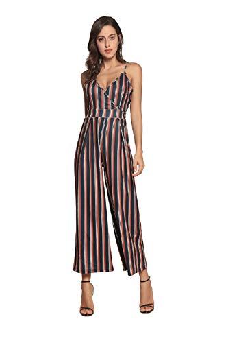 Damen V-Ausschnitt Strap Jumpsuits Rückengurt Jumpsuit Ärmellos Spilled Streifen Overall Partyhose Braun L
