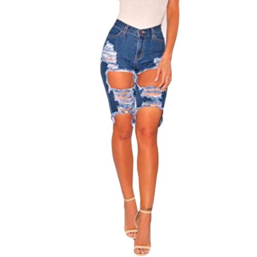 Cocoty-store 2019 Mujeres Encaje De Ganchillo De La Borla Cintura Alta Pantalones Cortos Vintage Denim Shorts Vaqueros Playa Pants (Azul,XXL)