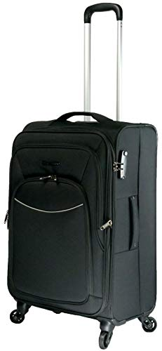 Valise Souple METZELDER Basic S Gros Volume Garantie 1 an (Black (Noir), M - Medium - 79/93L - 67x42x28 2,8kg)
