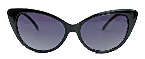 50er 60er Jahre Damen Retro Sonnenbrille Cat Eye Katzenaugen schwarz
