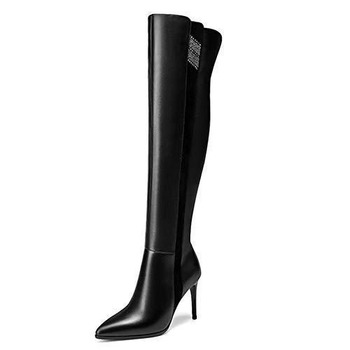 Damen Mode Strass Echtes Leder Knight Boot Stiletto über Das Knie Stiefel Langen Schlauch Sexy Formale Kleid-Schuhe Für Bankett-Party-Schuhe,Black-39 -