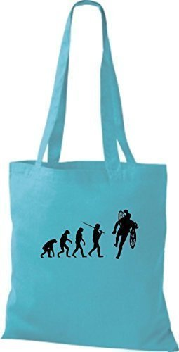 Shirtinstyle Borsa Di Stoffa Jute Evolution Moto Bike Biking Stunt Freebike Biker Colore Vario Cielo Blu