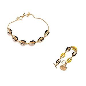 Amosfun 2pcs Böhmische Muschel Schmuck Kit Strand Halskette Armband nautische Partei begünstigt Geschenke für Frauen und Mädchen schwarz und gelb