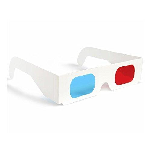 Preisvergleich Produktbild 10 x 3D Brillen,  rot / kobaltblau,  Papierkarte,  3D-Anaglyphenbrillen,  weiß