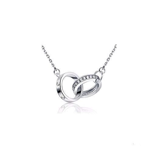 MTWTM Geburtstag Geschenke Silber Doppelring Halsketten Modeschmuck Simple Mode Damen Trend, Weiß