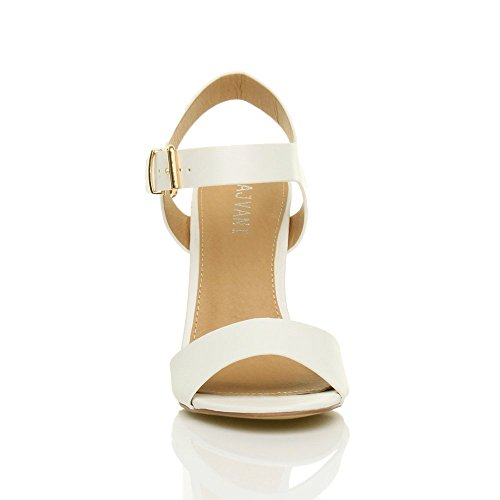 Branco Tiras Elegante Sandálias Fivela Sapatos Tamanho Salto Lazer Senhoras Mate Festa Do De Alto De 0BzwOXq