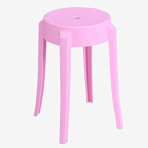 ADHKCF Bar Frühstück Barhocker Abgerundete Bad- / Duschhocker mit verdicktem Sitz Tritthocker für Kinder Kunststoff-Stapelhocker (Farbe : Rosa, größe : 2*pcs)