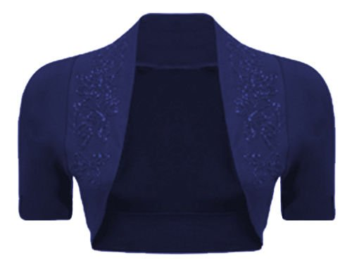 lush-clothing-b69-100-cotton-sequin-beaded-cap-short-sleeve-shrug-bolero-cardigan-top-sz-navy-blue-m