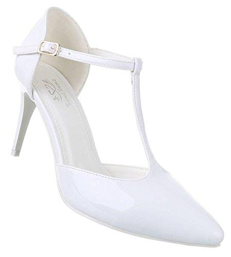 Damen-Schuhe Pumps | Frauen High Heels mit Riemchen und 8 cm Stiletto-Absatz in verschiedenen Farben und Größen | Schuhcity24 | T-Spange Abendschuhe in Lacklederoptik Weiß
