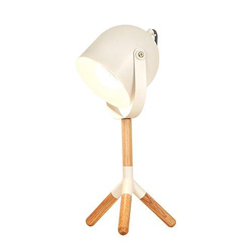 Schmiedeeisen Fass (Moderne Minimalistische Holz Tischlampe Kreative Fass Einstellbare Augen Lampe Schmiedeeisen Schreibtischlampe Für Wohnzimmer Schlafzimmer Studie Kinderzimmer, Φ15cm H43cm E27 (Color : Weiß))