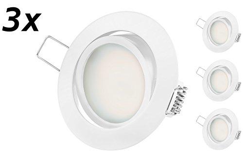 Ultra Flach LED Einbaustrahler - Tolles Design - Warmweiss 230V Weiss Schwenkbar - Einbauspots - Einbauleuchten (5.5W-Warmweiss-3er-Weiss)