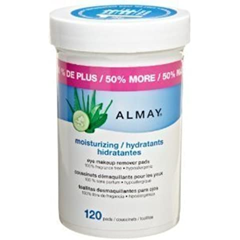 Almay Moisturizing Eye Makeup Remover Pads 120-Count (Pack of 2) by Almay Cosmetics