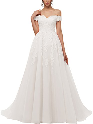 Hochzeitskleid Spitze A Linie schulterfrei