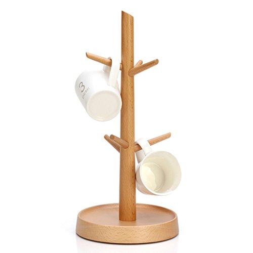Porte-gobelet en bois Porte-gobelet Tablette de tasse à thé Tasse à café Panier de rangement Forme d'arbre Facile à démonter 15 * 32 cm