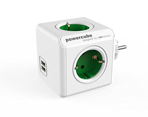 Power-Würfel Original DuoUSB, Steckdosenwürfel für 4 Stecker und 2 USB Ports, Reise-Adapter und Mehrfach-Steckdose ohne Kabel, 230V Schuko, grün-weiß
