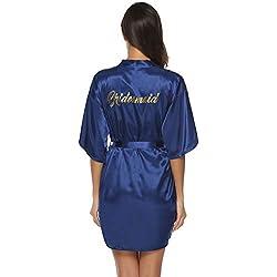 Aibrou Peignoir Satin Femme Robe de Chambre Kimono Femmes Sortie de Bain Nuisette Déshabillé Couleur Pure Vêtements de Nuit pour la Fête Mariage Demoiselle d'honneur Bleu M