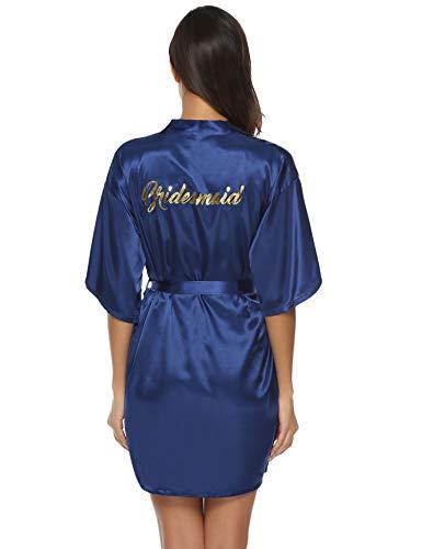Aibrou Damen Kimono Morgenmantel Kurz Satin Robe Bademantel Nachtwäsche Sleepwear V Ausschnitt mit Gürtel für Party Hochzeit Brautjungfern Blau S - Braut-frottee-bademantel