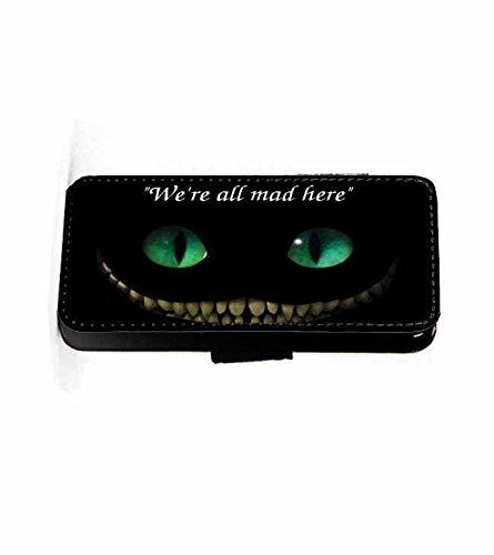 Cheshire We're all mad Cat Kunstleder wallet Handy Tasche Schutz Hülle für iPhone 6 und 6s (5 S Telefon Fällen Iphone)