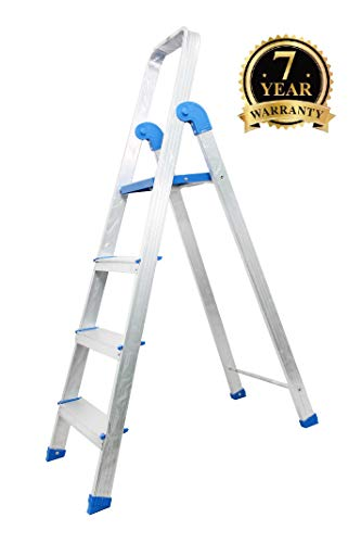 INSAK HOMES 4-Step Foldable Aluminium Ladder, 153x50x12 cm, White