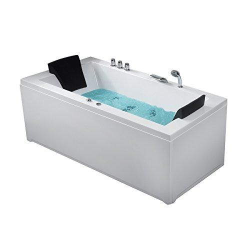 Whirlpool Eck Badewanne Nizza rechts oder links mit 6 Massage Düsen + LED Beleuchtung / Licht Sprudelbad Hot Tub Eckwanne innen super günstig