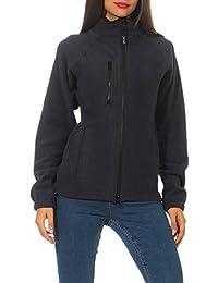 Happy Clothing Damen Fleecejacke Microfleece Outdoor-Jacke ohne Kapuze mit  Kragen Dunkelblau… cafecd37a5