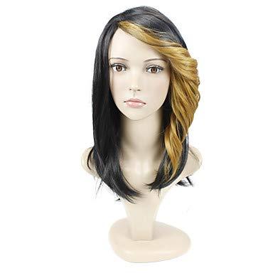 FUHOAHDD Zwei Tonfarbe Welle Cap Konstruktion Haar europäischen Stil Kunsthaar Perücke, medium Auburn (Haar Perücke Auburn)
