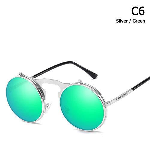 ZHOUYF Sonnenbrille Fahrerbrille Mode Polarisierte Steampunk Stil Clamshell Flip Up Sonnenbrille Vintage Runde Marke Design Sonnenbrille Oculos De Sol, F