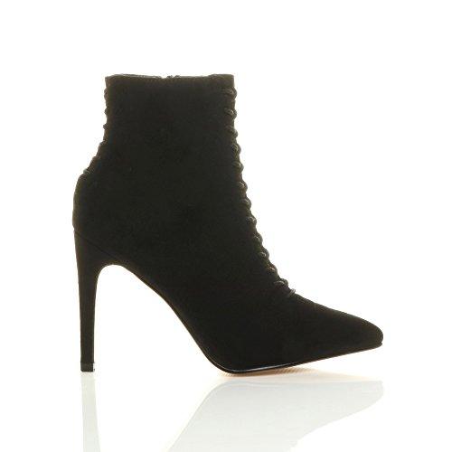 Femmes talon haut lacer corset retour bottes pointues bottines pointure Daim noir