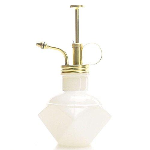 Purismus-Stil Plant Mister - Weiße Farbe Glasflasche & Messing Sprayer (Matt Gold)