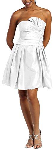 Nachtigall+Lerche Jugendliches Bustier Cocktailkleid kurz Taffeta (Size 42) Farbe Weiß