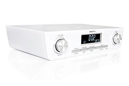 AudioAffairs Küchenradio UKW FM Unterbau-Radio Küchenunterbauradio mit LED Licht, Unterschrank-Küchenradio und Back-Timer, weiß - Nur erhältlich auf Amazon.de