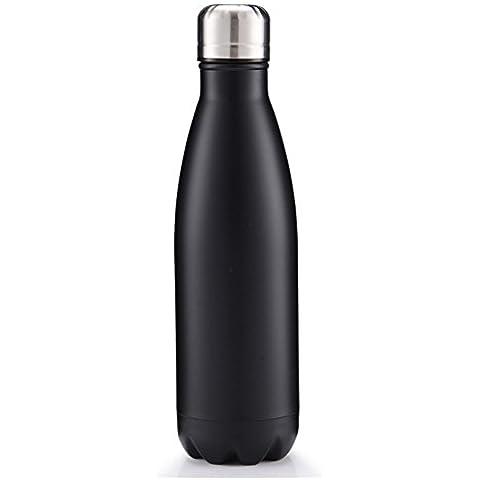 NYKKOLA–Bottiglia e bottiglia in acciaio inox a doppio strato 24ore freddo & 12Caldo–500ml–Thermos Bottiglia, nero