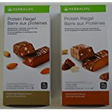 HERBALIFE 2 x Proteinriegel, 14 Riegel x 35 g - Vanille-Mandel Geschmack - 490 g, 14 Riegel x 35 g - Schoko-Erdnuss Geschmack - 490 g (Geschenk-Set)