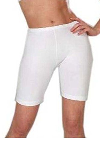LADIES STRETCHY COTTON LYCRA ABOVE KNEE SHORTS ACTIVE LEGGING (LARGE, WHITE)